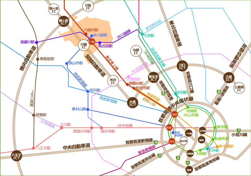 川越市への案内図